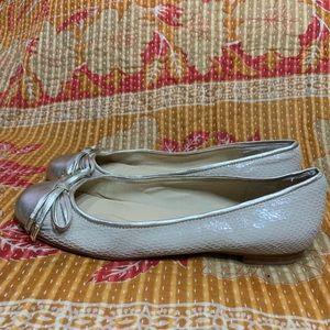 Kate Spade Snakeskin Gold Bow Ballet Flats Sz 8 M